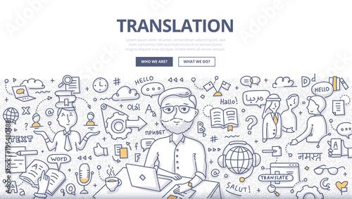 Fotografía  Translation Doodle Concept