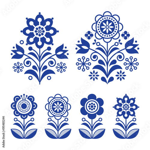 Design Navy Blue Flower Background