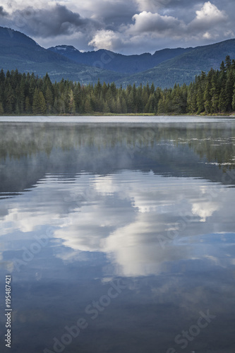 Foto op Canvas Natuur Mist on Lost Lake, Ski Hill and surrounding forest, Whistler, British Columbia, Canada, North America