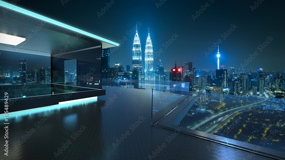 3D rendering of a modern glass balcony with kuala lumpur city skyline real photography background, night scene .Mixed media .