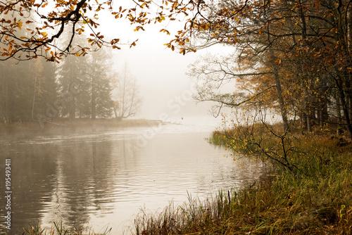 Keuken foto achterwand Bruggen Misty autumn moning by lakeside