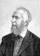 Vintage Engraved Portrait Of Ernst Haeckel, German Naturalist And Artist, Famous For His Multicolor Illustrations Of Animals And Sea Creatures