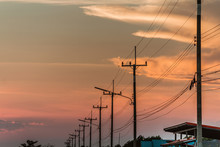 Silhouette Electric Pole And S...