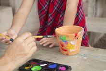 Asian Child Paint Flowers Pot ...