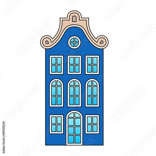 Fototapety, obrazy: European house, old vintage dark blue building, beige roof patterns, blue gradient glass, white frames, isolated object, white background, stylized drawing, front view, Europe of the 19th century