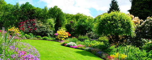 Poster Bomen beautiful garden panorama