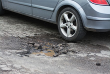 Big Pothole Caused By Freezing And Rain In Rome, Italy