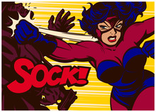 Pop Art Comic Book Style Panel With Super Heroine Throwing Punch And Beating Super Villain Female Superhero Vector Illustration