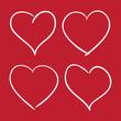 Set of Hand Drawn Contour Hearts. Vector illustration.