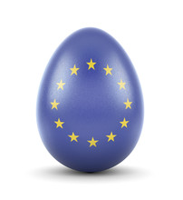 The Flag Of European Union On A Very Realistic Rendered Egg.(series)