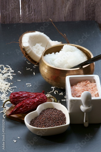 Fotografie, Obraz  Mustard seeds and Himalayan salt with other spices