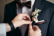 Close-up Of The The Groom Boutonniere, Butterfly, Wedding Handkerchief In The Pocket