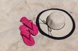 Beach Accessories On Sandy Beach In The Summer
