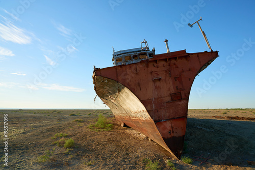 Foto op Canvas Schipbreuk Abandoned ships Aral Sea. The Aral Sea is a formerly un salt lake in Central Asia. The Aral Sea was an endorheic lake lying between Kazakhstan in the north and Uzbekistan in the south.