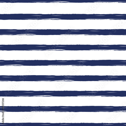 Seamless nautical pattern with hand painted brush strokes, striped background Fototapeta