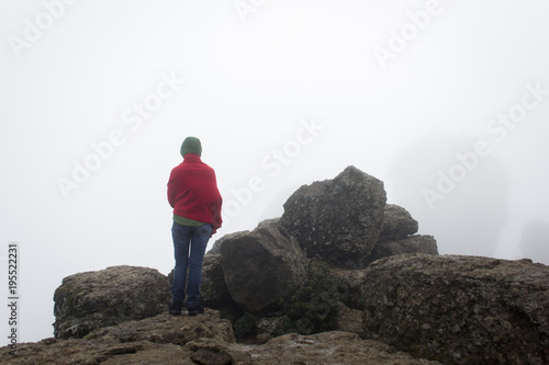 Valokuva  Back of lonely woman wrapped warm in red blanket standing on rocky area facing unclear foggy white background