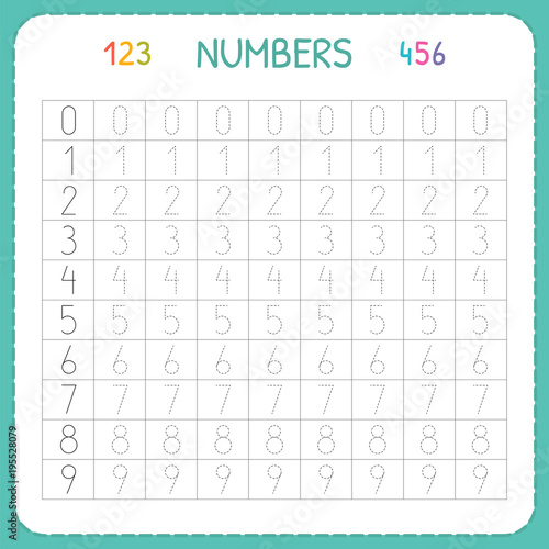 Numbers For Kids. Worksheet For Kindergarten And Preschool. Training To  Write And Count Numbers. Tracing Exercises For Children Stock Vector  Adobe Stock