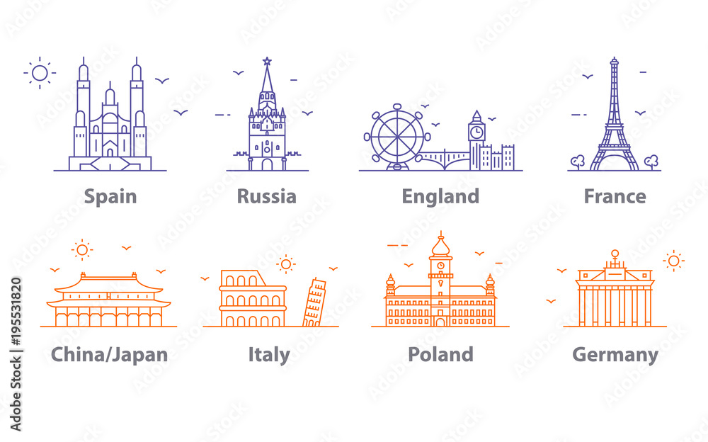 Fototapety, obrazy: Landmarks icons set, world capitals symbols. Paris and London, Moscow and Spain, France and China and more.