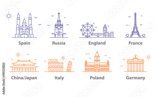 Landmarks icons set, world capitals symbols. Paris and London, Moscow and Spain, France and China and more.