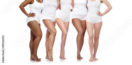 Carta da parati group of happy diverse women in white underwear