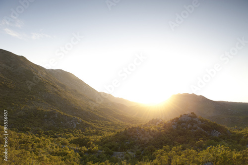 Poster  Sun over mines landscape in Bosnia and Herzegovina