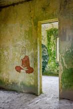 Buddha Graffiti In Abandoned Building, Bokor, Cambodia