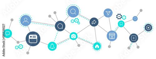 Fototapeta Social media icon connection concept, vector illustration obraz na płótnie