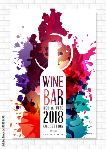 Wine list template for bar or restaurant menu design. Creative artistic background with color paint splashes. Fototapete