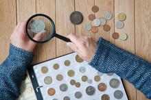 Woman-numismatist Views Coins ...