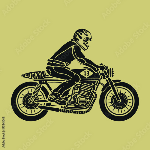Fotografija Biker sitting on cafe racer vector illustration