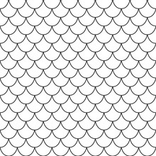 White And Black Texture Of Fish Scales. Seamless Vector Pattern. Nice For Wallpaper, Banner, Fabric, Paper, Scrapbook, Backdrop.
