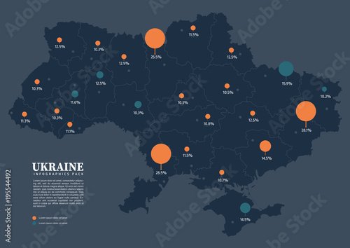 Fototapeta Map of Ukraine with infographics pack
