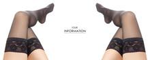 Female Legs Black Nylon Stocki...