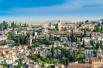 View of the historical arabic town Albicin in Granada Spain