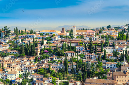 Photo View of the historical arabic town Albicin in Granada Spain