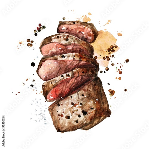 Ingelijste posters Waterverf Illustraties Roast meat. Watercolor Illustration.