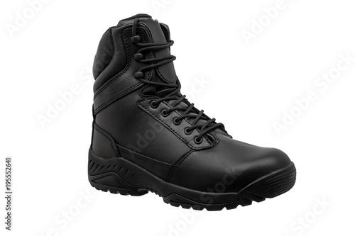 Fotografía  Black military leather boot isolated on white