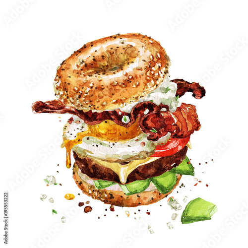 Canvas Prints Watercolor Illustrations Breakfast burger. Watercolor Illustration.