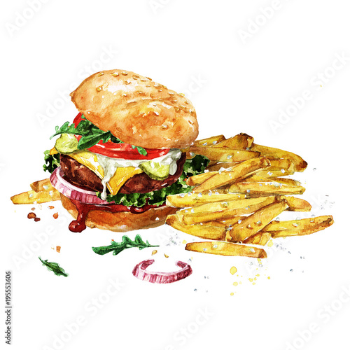 Recess Fitting Watercolor Illustrations Traditional hamburger with fries. Watercolor Illustration.