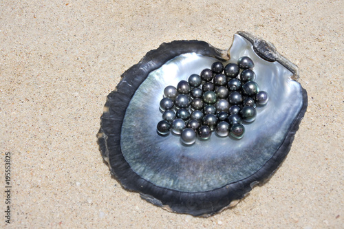 Flat lay view of excellent Round Tahitian Black Pearls