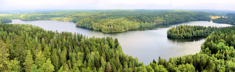 Panoramic aerial view of a lake among the forests of Finland