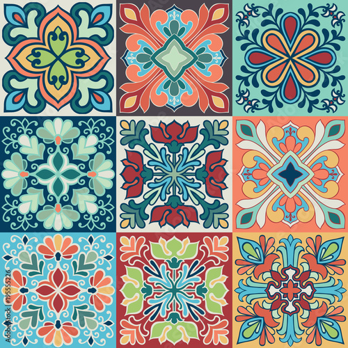 Deurstickers Marokkaanse Tegels Seamless vector tile pattern. Colorful lisbon, mediterranean floral ornament pattern. Square flower blue mosaic. Islam, Arabic, Turkish, Pakistan Moroccan Portuguese motifs vector