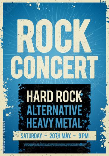 Wektorowy ilustracyjny rockowego koncerta projekta retro plakatowy szablon na starej papierowej teksturze