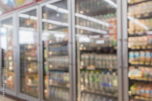 Fotografie, Obraz  Abstract blur supermarket convenience store refrigerator aisle and product shelv