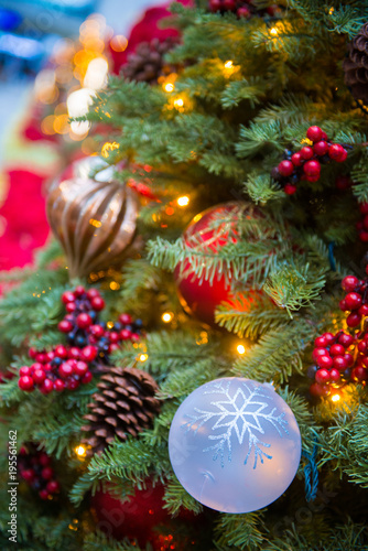Fototapety, obrazy: Christmas tree beautifully decorated