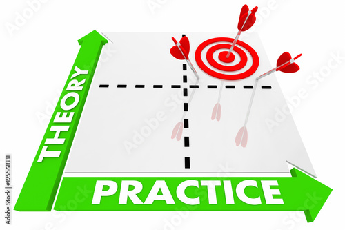 Fotografía  Theory Vs Practice Matrix Implement Ideas 3d Illustration