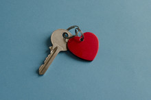 Red Heart Key Chain. Key. Blue...