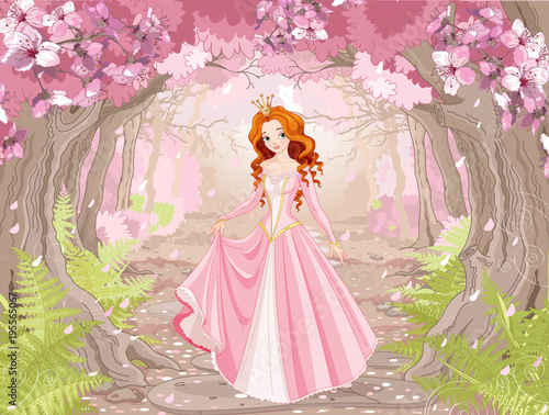 Garden Poster Fairytale World Beautiful Red Haired Princess