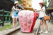 Launching Sky Lantern In Shifen Old Street