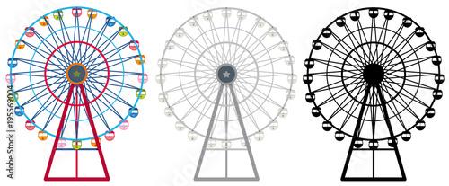 Fototapeta Ferris wheels in three designs obraz
